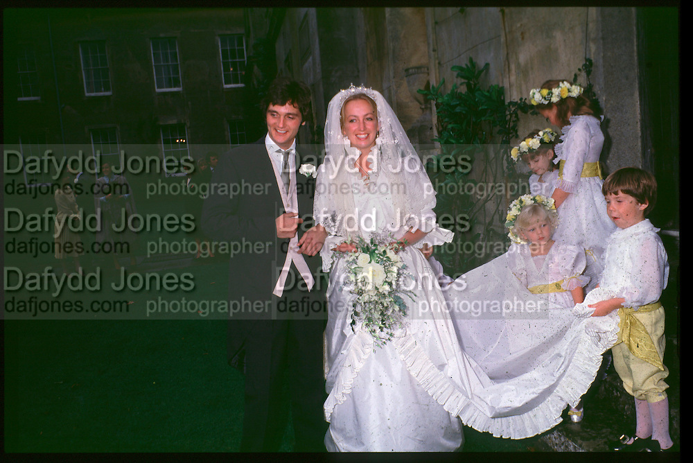LORD EDWARD SOMERSET WITH  Lady CAROLINE SOMERSET AT THEIR WEDDING AT Badminton. Glouce. 1982. <br />