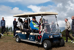 Gleneagles, Scotland, UK; 10 August, 2018.  Day three of European Championships 2018 competition at Gleneagles. Men's and Women's Team Championships Round Robin Group Stage. Four Ball Match Play format.  Pictured; Buggy takes Georgia Hall to 9th tee .