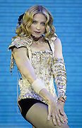 "INGLEWOOD, CA - MAY 26: Singer/actress Madonna performs onstage during the opening night of her ""Re-Invention"" World Tour 2004, at The Great Western Forum, May 26, 2004 in Inglewood, California. The outfit she is wearing is designed by Christian LaCroix. (Photo by Frank Micelotta/Getty Images)  *** Local Caption *** Madonna"