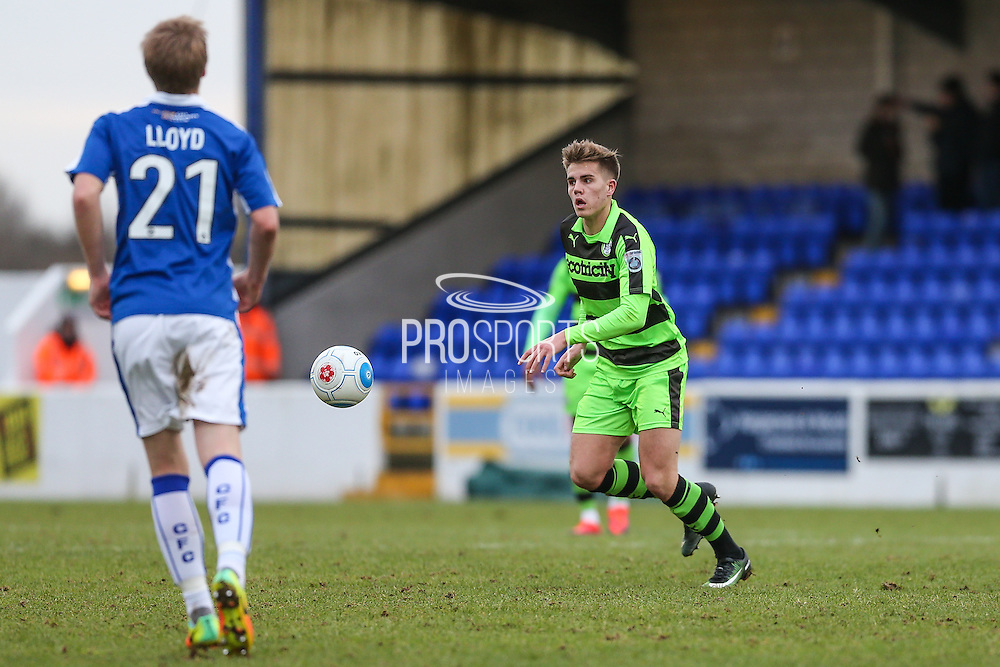 Forest Green Rovers Charlie Cooper(20) on the ball during the FA Trophy 2nd round match between Chester FC and Forest Green Rovers at the Deva Stadium, Chester, United Kingdom on 14 January 2017. Photo by Shane Healey.