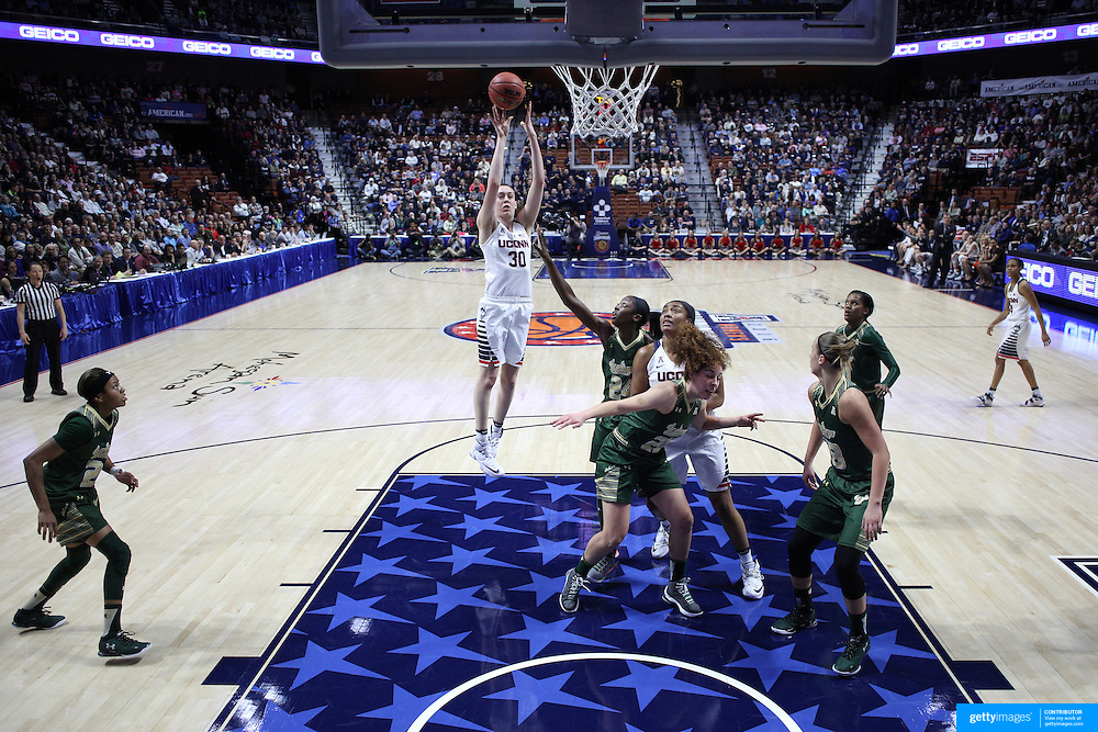 Breanna Stewart, UConn, shoots for two during the UConn Huskies Vs USF Bulls 2016 American Athletic Conference Championships Final. Mohegan Sun Arena, Uncasville, Connecticut, USA. 7th March 2016. Photo Tim Clayton