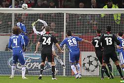 23.11.2011, BayArena, Leverkusen, Germany, UEFA CL, Gruppe E, Bayer 04 Leverkusen (GER) vs Chelsea FC (ENG), im Bild Ball geht an die Latte vom Tor von Petr Cech (Torwart Chelsea). Ömer Toprak (Leverkusen #21) und Michael Ballack (Leverkusen #13) schauen hinterher // during the football match of UEFA Champions league, group E, between Bayer Leverkusen (GER) and FC Chelsea (ENG) at BayArena, Leverkusen, Germany on 2011/11/23.EXPA Pictures © 2011, PhotoCredit: EXPA/ nph/ Mueller..***** ATTENTION - OUT OF GER, CRO *****
