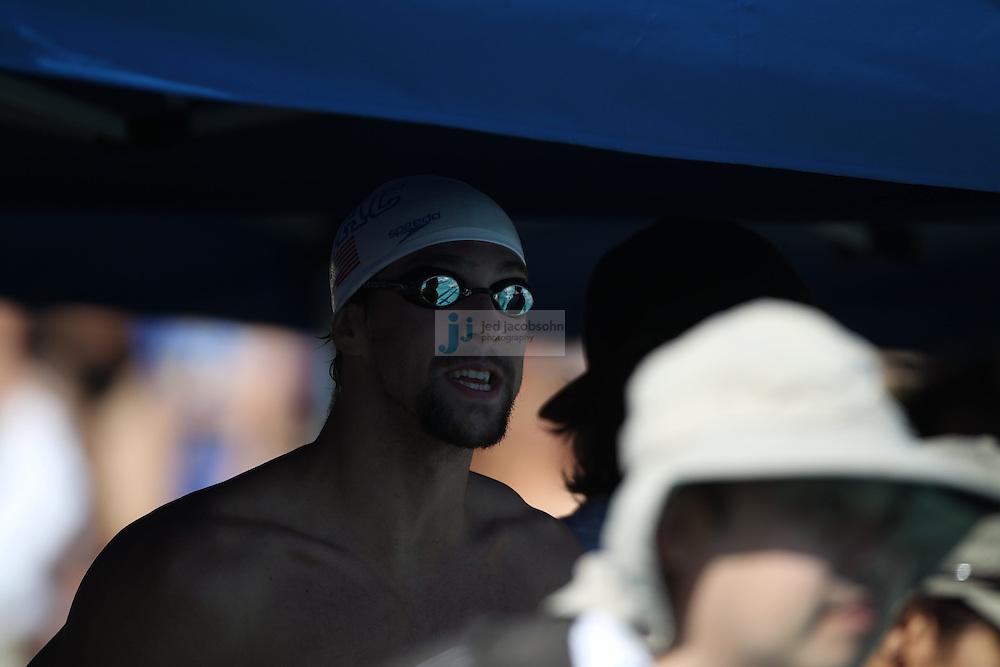 SANTA CLARA, CA - JUNE 17:  Michael Phelps prepares to swim during day 2 of the Santa Clara International Grand Prix at George F. Haines International Swim Center on June 17, 2011 in Santa Clara, California.  (Photo by Jed Jacobsohn)