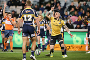 TJ Perenara celebrates scoring the first try during the Super Rugby match, Brumbies V Hurricanes, GIO Stadium, Canberra, Australia, 30th June 2018.Copyright photo: David Neilson / www.photosport.nz
