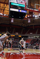 10 November 2014:  David Niggins shoots a free throw during an exhibition men's basketball game between Lewis University Flyers and the Illinois State Redbirds at Redbird Arena, Normal IL