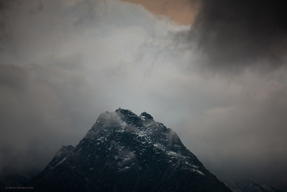 Summit of Tryfan in atrocious weather, photographed from Y Braich