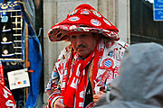 Bayern Munich fan outside of Stamford Bridge ahead of the Champions League match between Chelsea and Bayern Munich at Stamford Bridge, London, England on 25 February 2020.