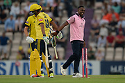/Dwayne Bravo of Middlesex celebrates the wicket of Mujeeb Ur Rahman during the Vitality T20 Blast South Group match between Hampshire County Cricket Club and Middlesex County Cricket Club at the Ageas Bowl, Southampton, United Kingdom on 20 July 2018. Picture by Dave Vokes.