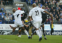 Photo: Aidan Ellis.<br /> Bolton Wanderers v Fulham. The Barclays Premiership. 11/02/2007.<br /> Fulham's Michael Brown brings down Bolton's Nicolas Anelka for the penalty