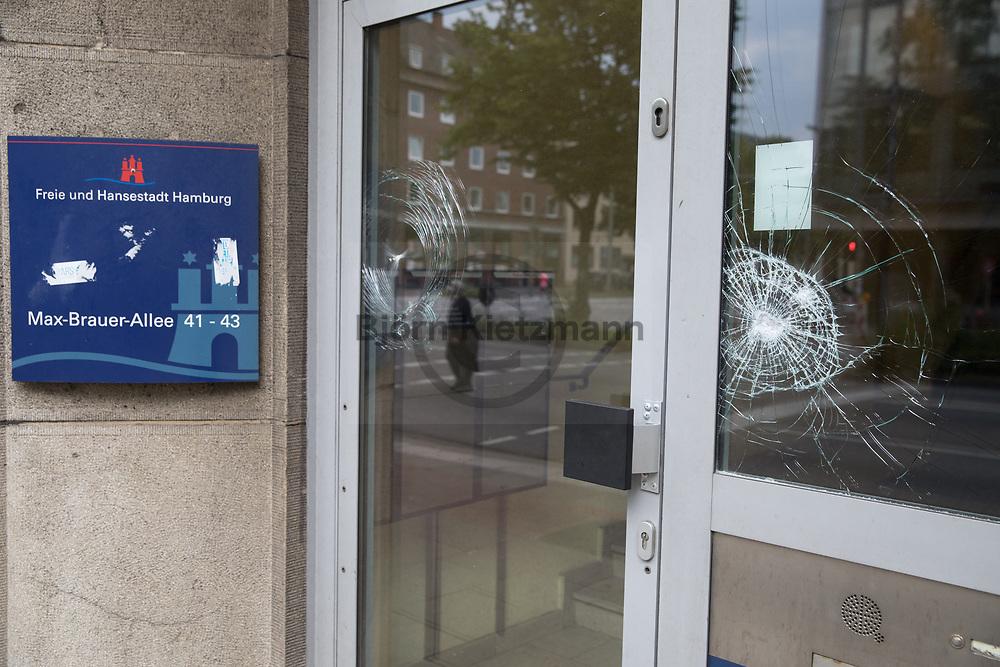 Hamburg, Germany - 07.07.2017<br /> <br /> Smashed windows at office building of the City Hamburg in Altona. No G20 Protests in Hamburg<br /> <br /> Eingeworfene Scheiben am Buero der Stadt Hamburg in Altona. Anti G20-Proteste in Hamburg.<br /> <br /> Photo: Bjoern Kietzmann