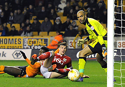 Aden Flint of Bristol City scores to make it 1-1 - Mandatory byline: Dougie Allward/JMP - 08/03/2016 - FOOTBALL - Molineux Stadium - Wolverhampton, England - Wolves v Bristol City - Sky Bet Championship