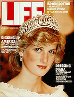 Diana, Princess of Wales was used on the cover of countless magazines as illustrated in this Anwar Hussein photo of Life magazine