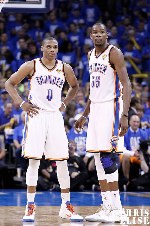 12 June 2012: Oklahoma City Thunder point guard Russell Westbrook (0) and Oklahoma City Thunder small forward Kevin Durant (35) rests during the Oklahoma City Thunder 105-94 victory over the Miami Heat, in Game 1 of the 2012 NBA Finals, at the Chesapeake Energy Arena, Oklahoma City, Oklahoma, USA.