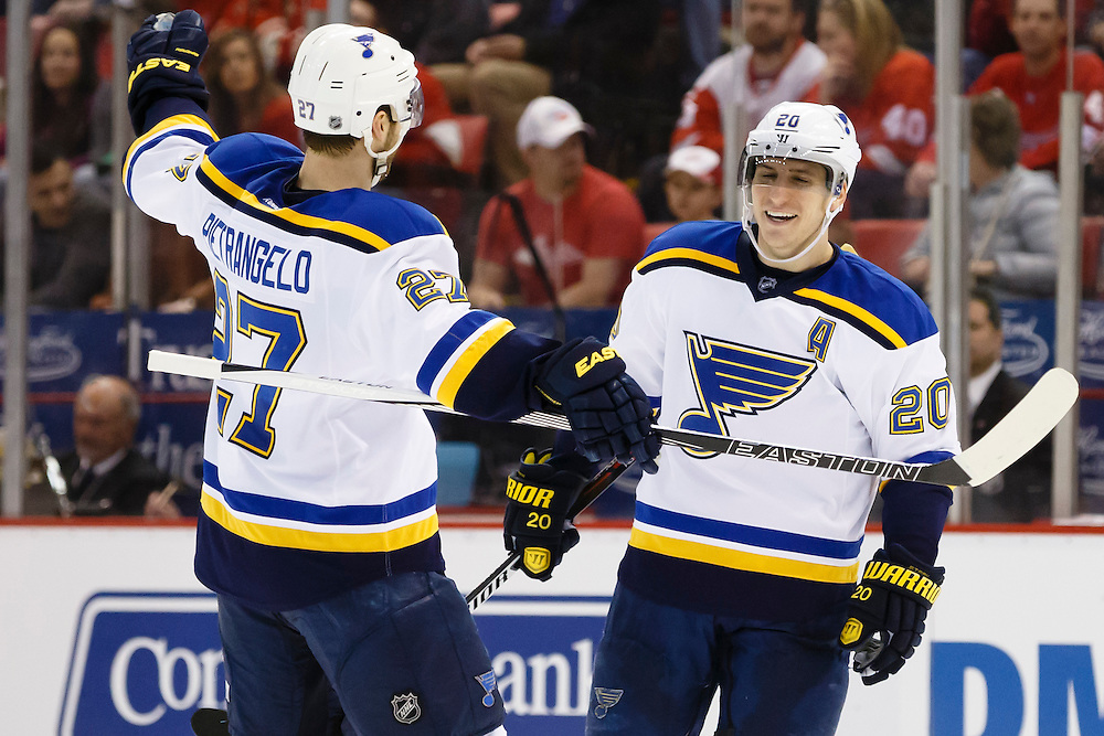 Mar 22, 2015; Detroit, MI, USA; St. Louis Blues left wing Alexander Steen (20) receives congratulations from defenseman Alex Pietrangelo (27) after scoring in the second period against the Detroit Red Wings at Joe Louis Arena. Mandatory Credit: Rick Osentoski-USA TODAY Sports