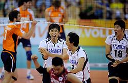 09-07-2010 VOLLEYBAL: WLV NEDERLAND - ZUID KOREA: EINDHOVEN<br /> Nederland verslaat Zuid Korea met 3-1 / Hak Min Kim, Tae Woong Choi en Yung Suk Shin<br /> ©2010-WWW.FOTOHOOGENDOORN.NL