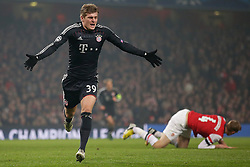 19-02-2013 VOETBAL: CHAMPIONS LEAGUE FC ARSENAL - FC BAYERN MUNCHEN: LONDEN<br /> Toni Kroos scoort de 1-0 during the UEFA Champions League last sixteen first leg match between Arsenal FC and FC Bayern Munich at the Emirates Stadium<br /> ***NETHERLANDS ONLY***<br /> ©2012-FotoHoogendoorn.nl