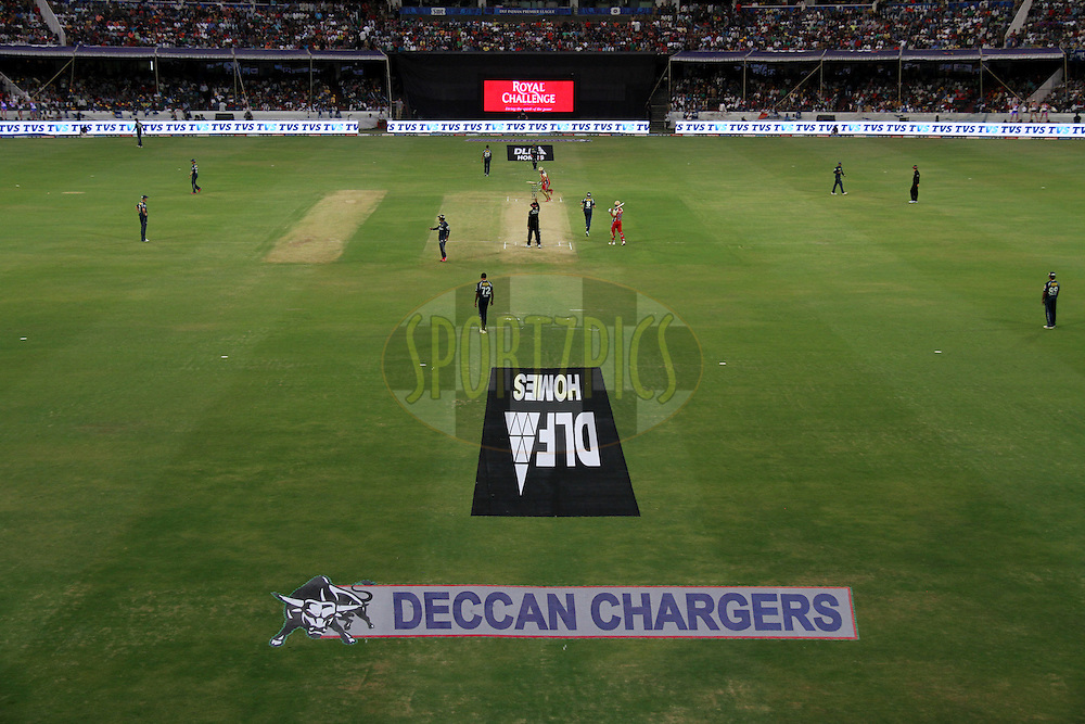A view of match 71 of the the Indian Premier League ( IPL) 2012  between The Deccan Chargers and the Royal Challengers Bangalore held at the Rajiv Gandhi Cricket Stadium, Hyderabad on the 20th May 2012..Photo by Prashant Bhoot/IPL/SPORTZPICS