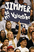 A BYU fan lets her wish be known to Cougar guard Jimmer Fredette during an NCAA college basketball game against Utah in Provo, Utah, Saturday, Feb. 12, 2011. (AP Photo/Colin E Braley)