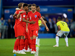 MOSCOW, RUSSIA - Tuesday, July 3, 2018: England's Jordan Henderson is consoled by team-mate Marcus Rashford after missing his side's third penalty of the shoot-out during the FIFA World Cup Russia 2018 Round of 16 match between Colombia and England at the Spartak Stadium. (Pic by David Rawcliffe/Propaganda)