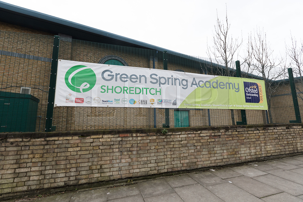 © Licensed to London News Pictures. 11/03/2017. LONDON, UK. A general view of Green Spring Academy Shoreditch (formerly Bethnal Green Academy) in Tower Hamlets, east London. The Department for Education (DfE) has now published the findings of its investigation at Green Spring Academy and identified exam malpractice and other irregularities. Teachers at the academy have alleged that there was a climate of intimidation and fear, where coursework and examinations were falsely marked. The head teacher, Mark Kearny was suspended in February following exam fixing and cheating claims. Green Spring Academy changed its name from Bethnal Green Academy in 2015 after three pupils left during half term for Syria.  Photo credit: Vickie Flores/LNP