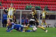 28.06.2006, Ratina, Tampere, Finland..Veikkausliiga 2006 - Finnish League 2006.Tampere United - FC Honka.Ville Lehtinen (TamU) v Lasse Lagerblom (Honka), vasemmalla Joel Perovuo.©Juha Tamminen.....ARK:k