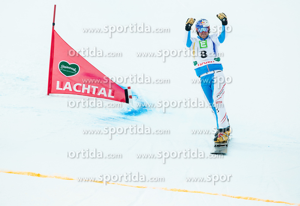 Benjamin Karl of Austria celebrates after the Small Final of the Men's Parallel Giant Slalom at FIS World Championships of Snowboard and Freestyle 2015, on January 23, 2015 at the WM Piste in Lachtal, Austria. Photo by Vid Ponikvar / Sportida