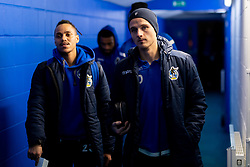 Kyle Bennett of Bristol Rovers and Tom Nichols of Bristol Rovers arrives at St Andrews Stadium prior to kick off - Mandatory by-line: Ryan Hiscott/JMP - 14/01/2020 - FOOTBALL - St Andrews Stadium - Coventry, England - Coventry City v Bristol Rovers - Emirates FA Cup third round replay