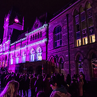 Winchester Town Hall at night with xmas lights