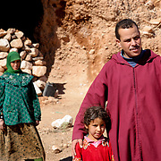 Ismael with nomad girl and mother, Dades Valley, Morocco (November 2006)