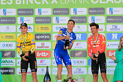 Zdenek Stybar (CZE) Deceuninck-Quick Step wins with Wout Van Aert (BEL) Team Jumbo-Visma 2nd and Greg Van Avermaet (BEL) CCC Team in 3rd place on the podium at the end of the 2019 E3 Harelbeke Binck Bank Classic 2019 running 203.9km from Harelbeke to Harelbeke, Belgium. 29th March 2019.<br /> Picture: Eoin Clarke | Cyclefile<br /> <br /> All photos usage must carry mandatory copyright credit (© Cyclefile | Eoin Clarke)