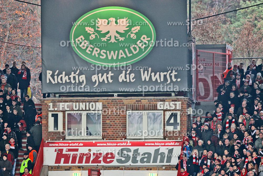 22.11.2014, Alte F&ouml;rsterei, Berlin, GER, 2. FBL, 1. FC Union Berlin vs TSV 1860 Muenchen, 14. Runde, im Bild Bittere Realitaet fuer Union: 1:4 mussten sich die Eisernen den Loewen aus Muenchen geschlagen geben // SPO during the 2nd German Bundesliga 14th round match between 1. FC Union Berlin and TSV 1860 Muenchen at the Alte F&ouml;rsterei in Berlin, Germany on 2014/11/22. EXPA Pictures &copy; 2014, PhotoCredit: EXPA/ Eibner-Pressefoto/ Hundt<br /> <br /> *****ATTENTION - OUT of GER*****