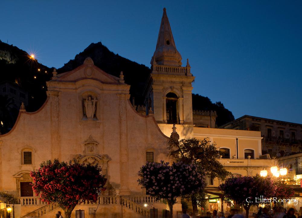 The Church of San Giusseppi at dusk inTaormina, Sicily, Italy