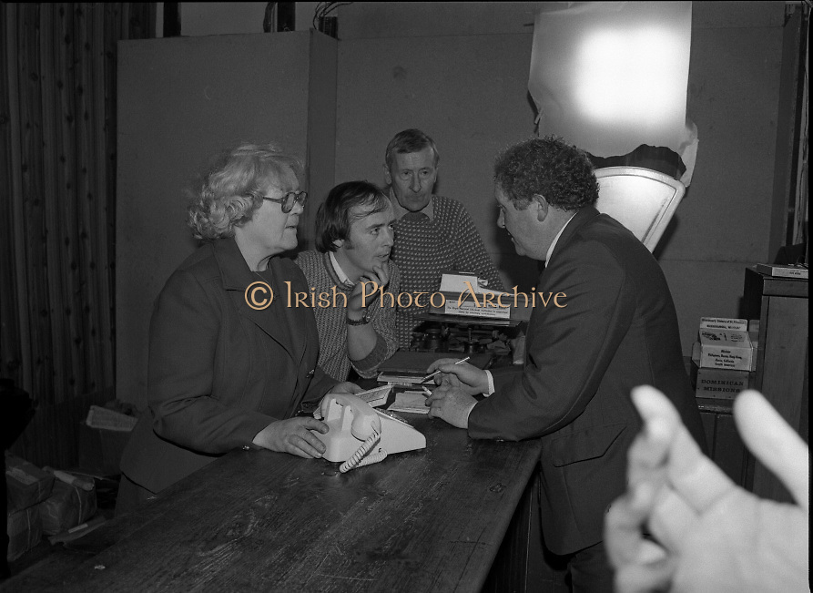 Opening of Automatic Telephone Exchange, Aran Mor..1980-06-20.20th June 1980.20/06/1980.06-20-80..Photographed at Kilronan, Inismore:..Minister of State at the Department of Posts and Telegraphs, Mark Killilea, opens the new automatic exchange at Kilronan on Inismore. ..The Minister is making is chatting across the table with staff including Máire Bn. Nic Giolla Phádraig, Postmistress Kilronan, who looks after the exchange.