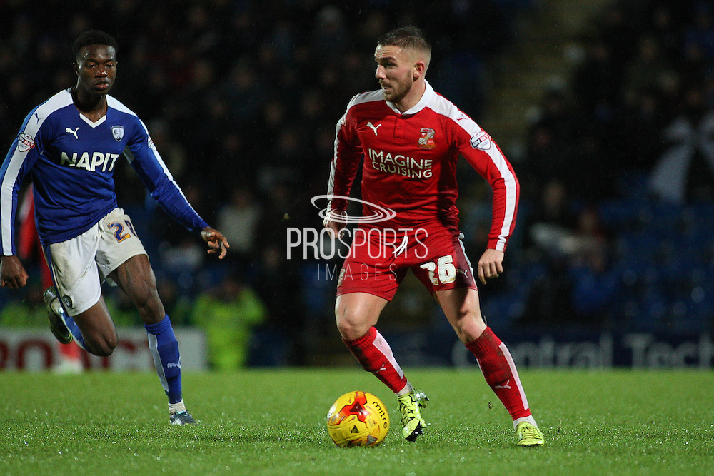 Swindon Town midfielder Anton Rodgers looks for a pass during the Sky Bet League 1 match between Chesterfield and Swindon Town at the Proact stadium, Chesterfield, England on 28 November 2015. Photo by Aaron Lupton.