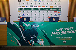 DUBLIN, IRELAND - Monday, October 15, 2018: Branding during a press conference at the Aviva Stadium ahead of the UEFA Nations League Group Stage League B Group 4 match between Republic of Ireland and Wales. (Pic by David Rawcliffe/Propaganda)