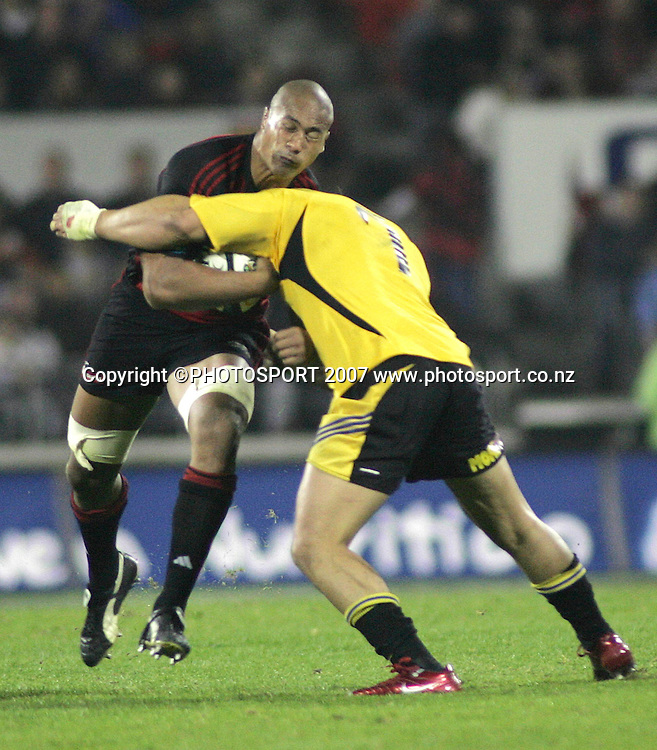 during the Super 14 rugby union match between the Crusaders and Hurricanes at Jade Stadium, Christchurch, New Zealand on Friday 20 April 2007. Photo: Hagen Hopkins/PHOTOSPORT<br /> <br /> <br /> <br /> 200407