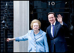 British Prime Minister David Cameron with former Prime Minister Baroness Thatcher outside Number 10 Downing Street, Tuesday June 8, 2010. Photo By Andrew Parsons / i-Images.