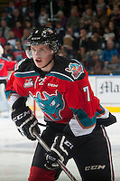 KELOWNA, CANADA - OCTOBER 25: Lucas Johansen #7 of Kelowna Rockets skates against the Brandon Wheat Kings on October 25, 2014 at Prospera Place in Kelowna, British Columbia, Canada.  (Photo by Marissa Baecker/Shoot the Breeze)  *** Local Caption *** Lucas Johansen;