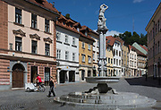 Levstikov trg square in the Slovenian capital, Ljubljana, on 27th June 2018, in Ljubljana, Slovenia. The Levstikov trg square was laid out by the architect Joze Plecnik between 1926 and 1927, at the time when it was still called Šentjakobski trg.