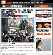 Demonstration on January 21, 2018 in front of the American Museum of Natural History against the presence of Rebekah Mercer on its board. Published in Breitbart on February 4, 2018.