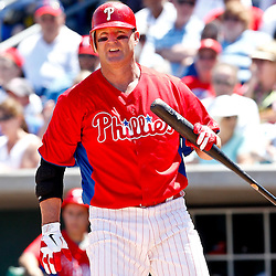 March 25, 2012; Clearwater, FL, USA; Philadelphia Phillies first baseman Jim Thome (25) at bat during the bottom of the fifth inning of a spring training game against the Baltimore Orioles at Bright House Networks Field. Mandatory Credit: Derick E. Hingle-US PRESSWIRE