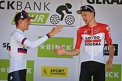 August 19, 2018 - Geraardsbergen, BELGIUM - Slovenian Matej Mohoric of Bahrain-Merida and Belgian Tim Wellens of Lotto Soudal on the podium of the final stage of the Binkcbank Tour cycling race, 209,5 km from Lacs de l'Eau d'Heure to Geraardsbergen, Belgium, Sunday 19 August 2018. BELGA PHOTO DAVID STOCKMAN (Credit Image: © David Stockman/Belga via ZUMA Press)