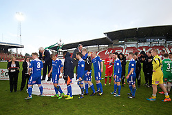 WREXHAM, WALES - Monday, May 2, 2016: Airbus UK Broughton players collect their runners-up medals after the 129th Welsh Cup Final against The New Saints at the Racecourse Ground. (Pic by David Rawcliffe/Propaganda)