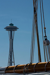 North America, United States, Washington, Seattle, Lake Union, Lake Union Park, Space Needle and Zodiac sailing schooner