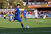 AFC Wimbledon midfielder Anthony Wordsworth (40) about to shoot from outside the box during the EFL Sky Bet League 1 match between AFC Wimbledon and Portsmouth at the Cherry Red Records Stadium, Kingston, England on 19 October 2019.