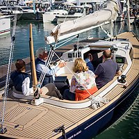 New motorboats at the boat show in Southampton, Hampshire, England