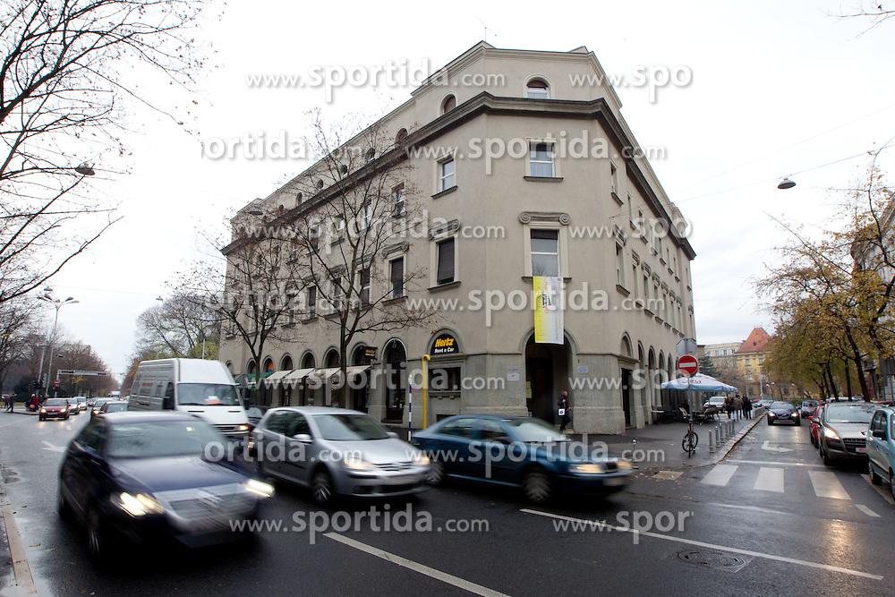 Building of Hrvatsko novinarsko drustvo, Zagreb, Croatia. (Photo By Vid Ponikvar / Sportida.com)