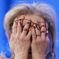 (Boston, MA - 12/7/17) Actress Meryl Streep covers her face as she participates in a conversation with Gloria Steinem during the Massachusetts Conference for Women at the BCEC, Thursday, December 07, 2017. Staff photo by Angela Rowlings.