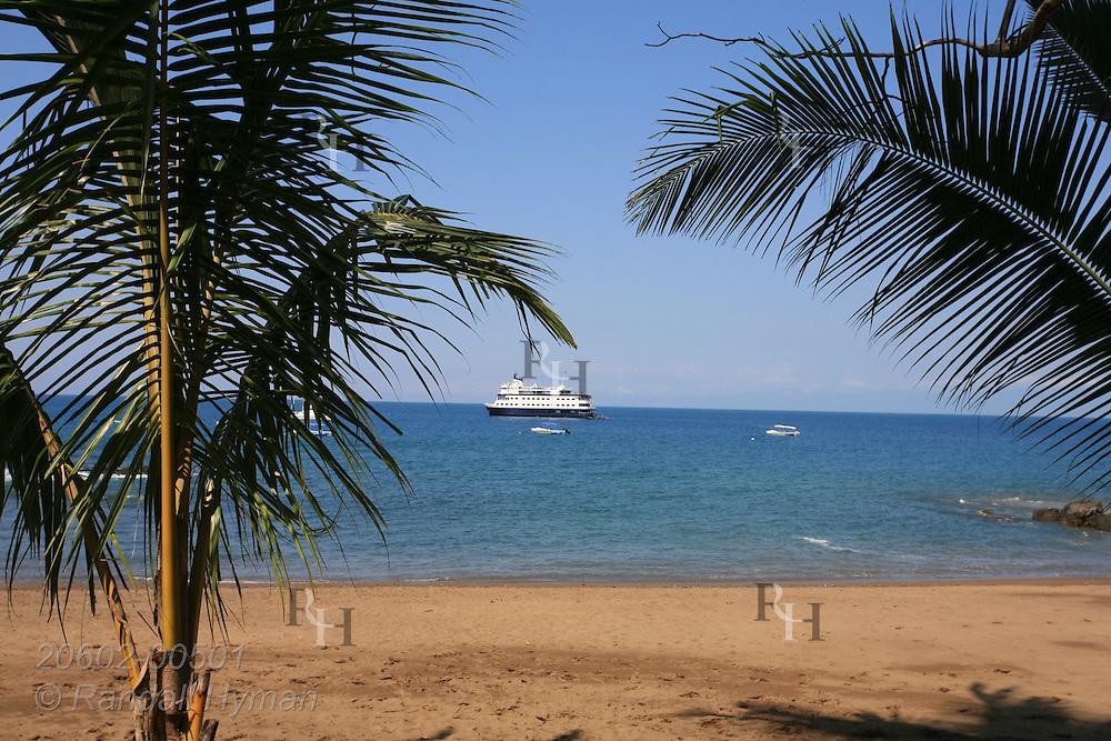 Palm trees frame small cruise ship anchored off Caletas Beach on Osa Peninsula's Drake Bay in Pacific Ocean near Corcovado National Park; Costa Rica.
