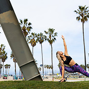 Pia Lamberg poses for a fitness shoot on Friday, March 1, 2019 at Muscle Beach in Venice, Calif.